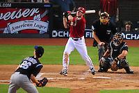 May 13, 2008; Phoenix, AZ, USA; Arizona Diamondbacks shortstop Stephen Drew hits a three run home run in the second inning off of Colorado Rockies pitcher (26) Jeff Francis at Chase Field. Mandatory Credit: Mark J. Rebilas-
