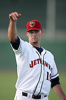 Robert Donovan of the Lancaster JetHawks during game against the Visalia Rawhide at Clear Channel Stadium in Lancaster,California on July 28, 2010. Photo by Larry Goren/Four Seam Images