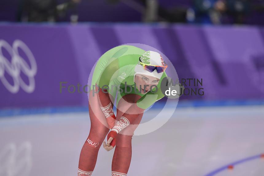 OLYMPIC GAMES: PYEONGCHANG: 16-02-2018, Gangneung Oval, Long Track, 5.000m Ladies, Maryna Zuyeva (BLR), ©photo Martin de Jong