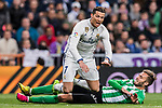Cristiano Ronaldo (l) of Real Madrid gets tripped while battling for the ball with German Pezzella of Real Betis during their La Liga match between Real Madrid and Real Betis at the Santiago Bernabeu Stadium on 12 March 2017 in Madrid, Spain. Photo by Diego Gonzalez Souto / Power Sport Images