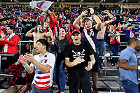 ORLANDO, FL - NOVEMBER 15: Supporters OF usa celebrate their victory over Canada 4-1 during a game between Canada and USMNT at Exploria Stadium on November 15, 2019 in Orlando, Florida.
