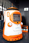 """August 01 2012, Tokyo, Japan - The screen of the robot guide """"Tawabo"""" says in Japanese ?Finding charger?. Tokyo Tower implemented the new robot guide which name is """"Tawabo"""", the first indoor robot guide in Japan. It can speak Japanese, English, Chinese and Korean, it weights 200kg and it is 160cm tall."""