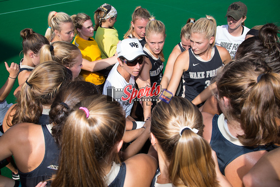 Wake Forest Demon Deacons head coach Jennifer Averill talks to her team prior to the match against the North Carolina Tar Heels at Kentner Stadium on October 23, 2015 in Winston-Salem, North Carolina.  The Demon Deacons defeated the Tar Heels 3-2.  (Brian Westerholt/Sports On Film)
