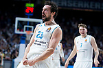 Real Madrid Sergio Llull celebrating a point during Turkish Airlines Euroleague Quarter Finals 3rd match between Real Madrid and Panathinaikos at Wizink Center in Madrid, Spain. April 25, 2018. (ALTERPHOTOS/Borja B.Hojas)