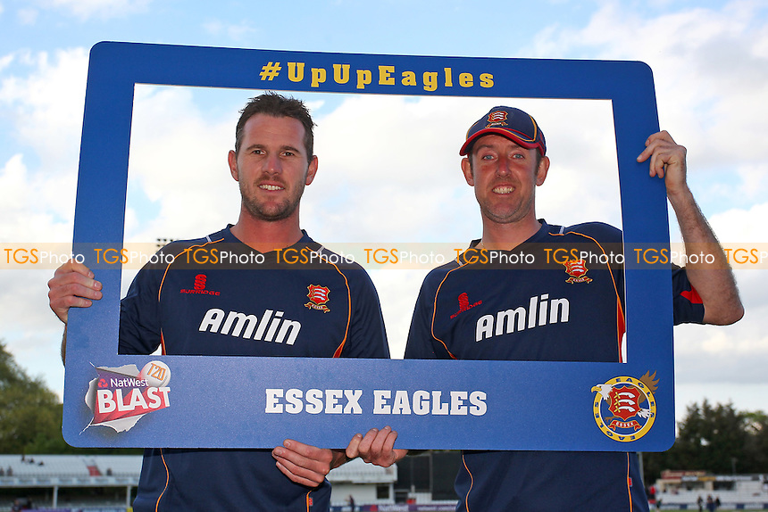 Shaun Tait (L) and David Masters of Essex look through the #UpUpEagles window - Essex Eagles vs Essex Premier Leagues XI - T20 Cricket Friendly Match at the Essex County Ground, Chelmsford, Essex - 13/05/15 - MANDATORY CREDIT: Gavin Ellis/TGSPHOTO - Self billing applies where appropriate - contact@tgsphoto.co.uk - NO UNPAID USE