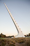 The Sundial Bridge crosses the Sacramento River at Turtle Bay Exploration Park in Redding, California. The 700 foot long bridge, which opened on July 4, 2004, was designed by Spanish architect and engineer Santiago Calatrava.