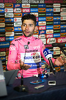 ITALIA. 07-05-2017. Fernando Gaviria -Col- (Quick-Step Floors) durante la  rueda de prensa realizada después de ganar la etapa 3 entre Tortoli' a Cagliari con 148 kms de la versión 100 del Giro de Italia hoy 07 de mayo de 2017. / Fernando Gaviria -Col- (Quick-Step Floors) during press copnference after winning the stage 3 between Tortoli 'to Cagliari with 148 kms of the 100 version of the Giro d'Italia today 07 May 2017 Photo: VizzorImage/ Massimo Paolone / LaPresse<br /> VizzorImage PROVIDES THE ACCESS TO THIS PHOTOGRAPH ONLY AS A PRESS AND EDITORIAL SERVICE AND NOT IS THE OWNER OF COPYRIGHT; ANOTHER USE HAVE ADDITIONAL PERMITS AND IS  REPONSABILITY OF THE END USER