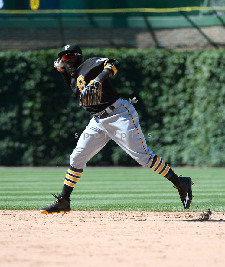 Pittsburgh Pirates Josh Harrison (5) during a game against the Chicago Cubs on June 17, 2016 at Wrigley Field in Chicago, IL. The Cubs beat the Pirates 6-0.