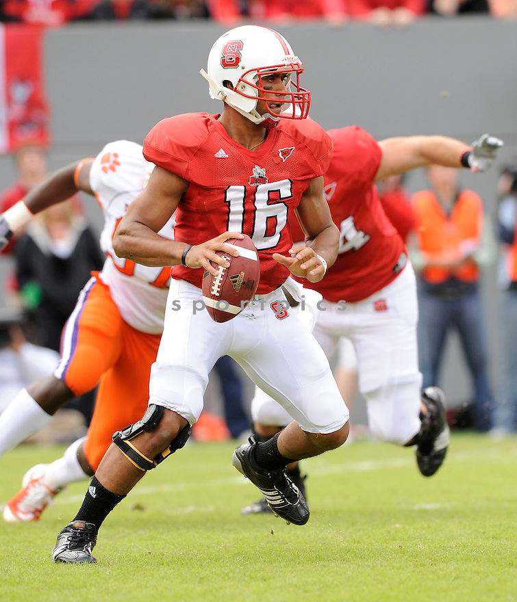 RUSSELL WILSON, of the North Carolina State Wolfpack, in action during the Wolfpacks game against the Clemson Tigers on November 14, 2009 in Raleigh, NC. Clemson won 43-23.