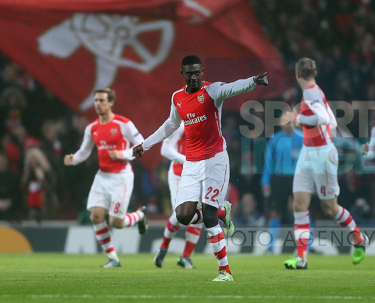 Arsenal's Yaya Sanogo celebrates scoring his sides opening goal<br /> <br /> UEFA Champions League- Arsenal vs Borussia Dortmund- Emirates Stadium - England - 26th November 2014 - Picture David Klein/Sportimage