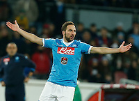 Napoli's Gonzalo Higuain  during the  italian serie a soccer match,between SSC Napoli and Sassuolo    at  the San  Paolo   stadium in Naples  Italy , January 17, 2016