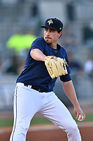 Starting pitcher Blake Taylor (28) of the Columbia Fireflies delivers a pitch in a game against the West Virginia Power on Friday, May 19, 2017, at Spirit Communications Park in Columbia, South Carolina. West Virginia won, 3-1. (Tom Priddy/Four Seam Images)
