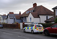Police outside the house of First Minister for Wales Carwyn Jones, near Bridgend, which had its walls vandalised with graffiti overnight. Friday 10 November 2017