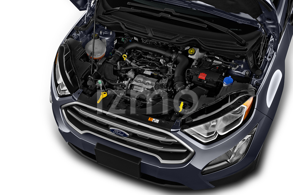 Car stock 2018 Ford EcoSport SE 5 Door SUV engine high angle detail view
