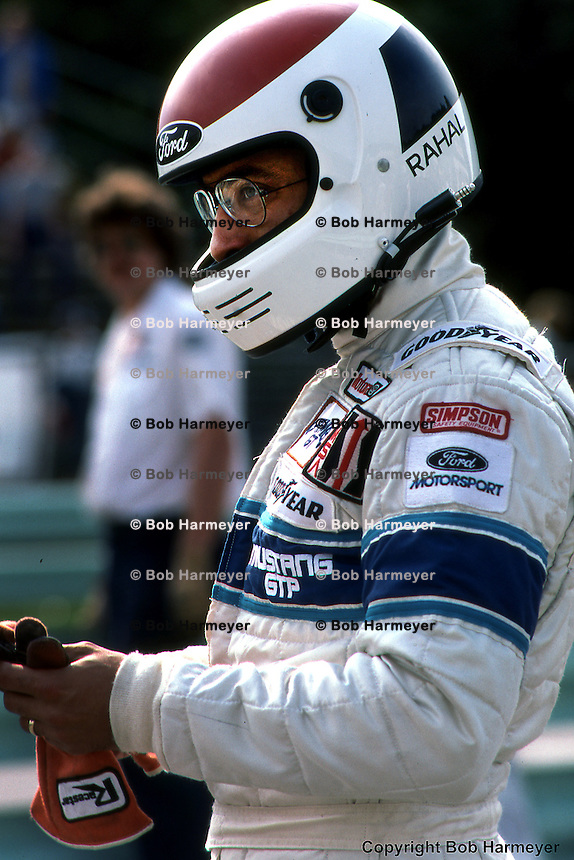 Bobby Rahal prepares to drive the Mustang GTP car during the 1983 IMSA race at Road America near Elkhart Lake, Wisconsin.