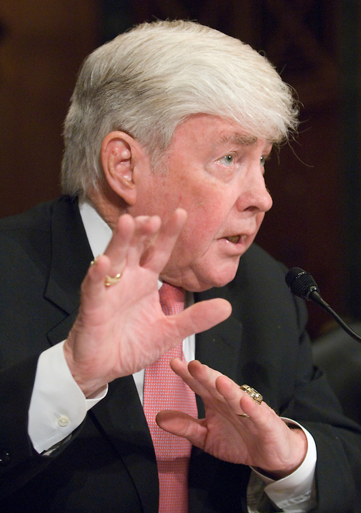 "Former Congressman and former Secretary of Housing and Urban Development Jack Kemp testifies during the Senate Finance Committee hearing on ""The Housing Decline: The Extent of the Problem and Potential Remedies,"" on Thursday, Dec. 13, 2007."