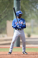 Texas Rangers infielder Yeyson Yrizarri (98) during an Instructional League game against the Cincinnati Reds on October 7, 2013 at Goodyear Training Complex in Goodyear, Arizona.  (Mike Janes/Four Seam Images)