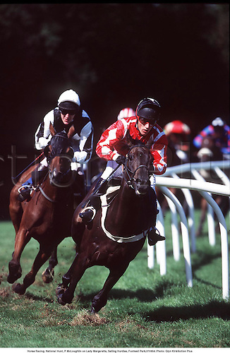 Horse Racing, National Hunt, P McLoughlin on Lady Margaretta, Selling Hurdles, Fontwell Park,970904. Photo: Glyn Kirk/Action Plus...1997