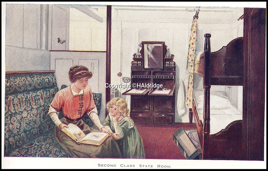 BNPS.co.uk (01202 558833)<br /> Pic: HAldridge/BNPS<br /> <br /> A Second Class State Room on the Titanic.<br /> <br /> A rare holiday brochure for the Titanic has surfaced after 106 years.<br /> <br /> The brochure was specifically aimed at rich first and second class passengers and contained colourful images of the most luxurious parts of the doomed liner.<br /> <br /> It walked the reader through different parts of the 'unsinkable' ship, from the opulent reception room, to the Louis XVI period designed restaurant and the promenade deck.<br /> <br /> The sumptuous state rooms that cost the equivalent of £40,000 to stay in, are featured in the fascinating brochure as is the famous grand staircase that featured heavily in the 1997 movie starring Kate Winslet.