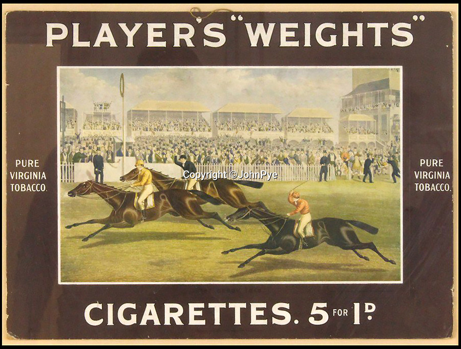 BNPS.co.uk (01202 558833)<br /> Pic: JohnPye/BNPS<br /> <br /> Original art work for John Player cigarettes from the 1940s have been unearthed to highlight the eyebrow-raising advertising techniques that would horrify health officials today.<br /> <br /> The oil paintings were found in the factory of Imperial Tobacco in Nottingham after it closed last year.<br /> <br /> The art work was for posters, billboard adverts and cigarette cards that were so avidly collected by smokers and non-smokers alike.<br /> <br /> One such work by Septimus Edwin Scott depicts a young child sat in his nursery clutching three unlit cigarettes as if they were play-things. Wording underneath reads 'Mummy's favourite' underneath.