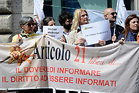 Roma, 3 Maggio 2019<br /> Giornaliste e giornalisti protestano per chiedere alle istituzioni europee di impegnarsi di più per la libertà di stampa e per dire no a minacce e aggressioni contro croniste e cronisti durante la Giornata Mondiale per la libertà di Stampa.