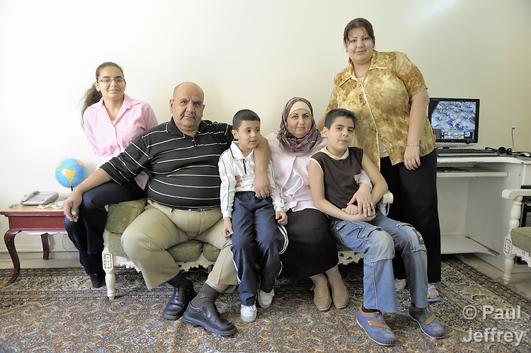 A refugee family from Iraq living in Damascus, Syria. More than one million Iraqi refugees are estimated to live in Syria, part of a large diaspora of families who fled the violence of the U.S. occupation. From left: Anjy Abbas, 12; Dyaa Abbas, 47; Yousif Abbas, 7; Sawsan Hussin, 47; Mustafa Abbas, 10; Marowa Abbas, 20.