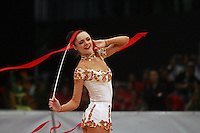 Anna Bessonova of Ukraine performs with ribbon (finish to routine) at 2008 Portimao World Cup of Rhythmic Gymnastics on April 20, 2008.  Photo by Tom Theobald.