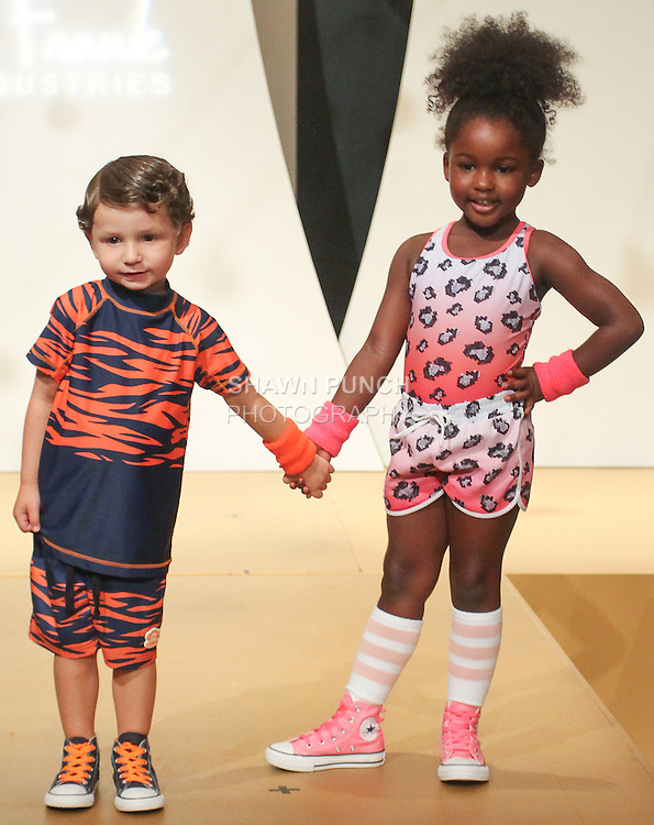 "Models walk runway in outfits for the debut of the Paul Frank Industries Children's Spring Summer 2016 ""Circus Jumble"" collection during New York Fashion Week Spring 2016."