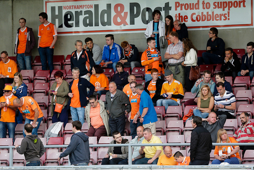 Blackpool fans before the start of the match<br /> <br /> Photographer Craig Mercer/CameraSport<br /> <br /> Football - Capital One Cup First Round - Northampton v Blackpool - Tuesday 11th August 2015 - Sixfields Stadium - Northampton<br />  <br /> &copy; CameraSport - 43 Linden Ave. Countesthorpe. Leicester. England. LE8 5PG - Tel: +44 (0) 116 277 4147 - admin@camerasport.com - www.camerasport.com