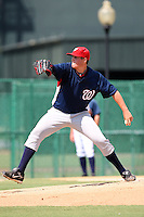 October 6, 2009:  Relief Pitcher Bobby Hansen of the Washington Nationals organization delivers a pitch during an Instructional League game at Disney's Wide World of Sports in Orlando, FL.  Hansen was drafted in the 18th round of the 2008 MLB Draft.  Photo by:  Mike Janes/Four Seam Images
