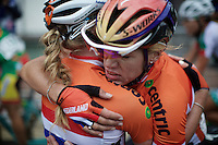 an emotional hug between Anna van der Breggen (NLD/Rabobank-Liv) &amp; Ellen Van Dijk (NLD) after the finish line<br /> <br /> Elite Women Road Race<br /> UCI Road World Championships Richmond 2015 / USA