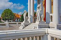 Marble Lions at entrance to the Ordination Hall (Ubosot Hall) at Wat Benchamabophit, Bangkok, Thailand