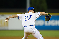 Burlington Royals starting pitcher Daniel Tillo (27) in action against the Danville Braves at Burlington Athletic Stadium on August 15, 2017 in Burlington, North Carolina.  The Royals defeated the Braves 6-2.  (Brian Westerholt/Four Seam Images)