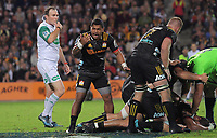 Te Toiroa Tahuriorangi shows his frustration as referee Glen Jackson blows for a foul during the Super Rugby match between the Chiefs and Highlanders at FMG Stadium in Hamilton, New Zealand on Friday, 30 March 2018. Photo: Dave Lintott / lintottphoto.co.nz