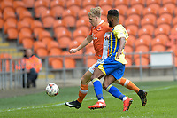 Blackpool's Brad Potts under pressure from Accrington Stanley's Janoi Donacien<br /> <br /> Photographer Terry Donnelly/CameraSport<br /> <br /> The EFL Sky Bet League Two - Blackpool v Accrington Stanley - Friday 14th April 2017 - Bloomfield Road - Blackpool<br /> <br /> World Copyright &copy; 2017 CameraSport. All rights reserved. 43 Linden Ave. Countesthorpe. Leicester. England. LE8 5PG - Tel: +44 (0) 116 277 4147 - admin@camerasport.com - www.camerasport.com