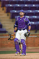 Catcher John Michael Boswell (8) of the Furman Paladins in game two of a doubleheader against the Harvard Crimson on Friday, March 16, 2018, at Latham Baseball Stadium on the Furman University campus in Greenville, South Carolina. Furman won, 7-6. (Tom Priddy/Four Seam Images)