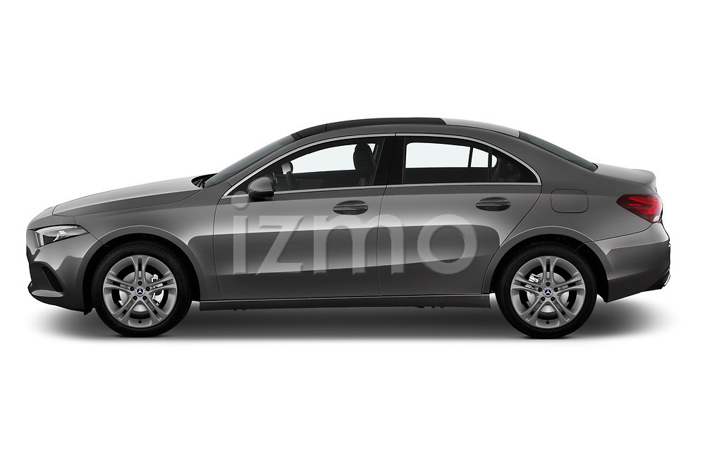 Car Driver side profile view of a 2019 Mercedes Benz A-Class A-200 4 Door Sedan Side View