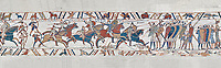 Bayeux Tapestry scene 51b: The Norman cavalry charge the Saxon foot solders.  BYX51b