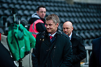 Saturday 2nd Febuaray 2014<br /> Pictured: Ole Gunnar Solskjaer, Manager of Cardiff City arriving at the Liberty Stadium<br /> Re: Barclays Premier League Swansea City FC  v Cardiff City FC at the Liberty Stadium, Swansea