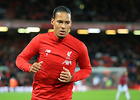 24th February 2020; Anfield, Liverpool, Merseyside, England; English Premier League Football, Liverpool versus West Ham United; Virgil van Dijk of Liverpool during the pre match warm up
