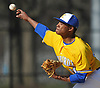Jason Diaz #40, Kellenberg starting pitcher, delivers to the plate in the top of the second inning of a Nassau-Suffolk CHSAA varsity baseball game against St. John the Baptist at Eisenhower Park on Tuesday, April 18, 2017. He held Baptist to two runs over five innings of work and was the winning pitcher of record in Kellenberg's 6-2 win.