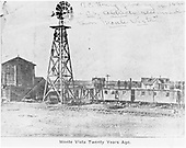 Monte Vista D&amp;RG facilities (windmill &amp; water tank) with 3 outfit cars parked on siding.<br /> D&amp;RG  Monte Vista, CO  ca. 1886