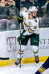 26 January 2019:  University of Vermont Catamount Forward Derek Lodermeier, a Junior from Brooklyn Center, MN, in third period action against the Merrimack College Warriors at Gutterson Fieldhouse in Burlington, Vermont. The Catamounts defeated the Warriors 4-3 in overtime to take both games of their weekend America East conference series. Mandatory Credit: Ed Wolfstein Photo *** RAW (NEF) Image File Available ***
