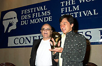 2001 file Photo -HK actor and director Jackie Chan   receive a Special Grand Prize of the Americas, from <br /> Montreal World Film Festival's President &amp; founder ; <br /> Serge Losique, Sept 1st , 2001 in Montreal, CANADA.
