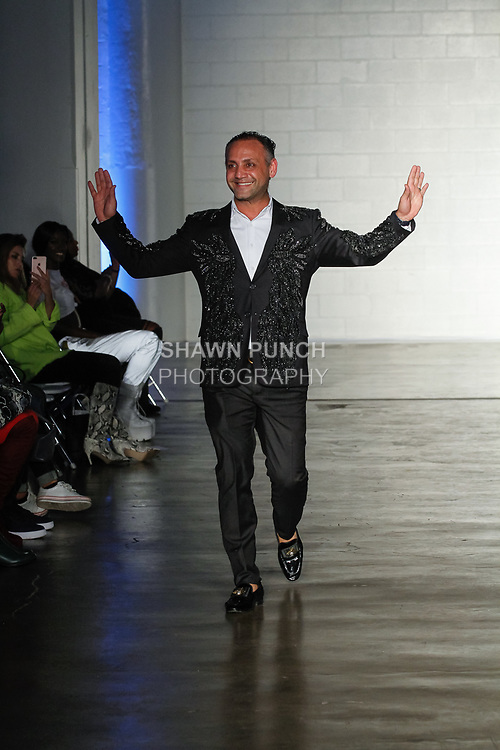 Designer Elie Balleh thanks audience for attending his Elie Balleh collection fashion show, at Cope NYC, on October 10, 2019, during Fashion Week Brooklyn Spring Summer 2020.