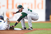 Fort Wayne TinCaps second baseman Chase Jensen (24) attempts to tag Bobby Bradley (44) diving back to second during a game against the Lake County Captains on May 20, 2015 at Classic Park in Eastlake, Ohio.  Lake County defeated Fort Wayne 4-3.  (Mike Janes/Four Seam Images)