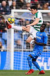 Amath Diedhiou of Getafe CF (R) fights for the ball with Ander Capa of SD Eibar (L) during the La Liga 2017-18 match between Getafe CF and SD Eibar at Coliseum Alfonso Perez Stadium on 09 December 2017 in Getafe, Spain. Photo by Diego Souto / Power Sport Images