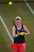 June 12th 2017,  Nottingham, England; WTA Aegon Nottingham Open Tennis Tournament day3; Julia Boserup of the USA hits a ball into the crowd after beating Laura Robson of Great Britain