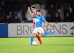 2015-10-31 / Voetbal / seizoen 2015-2016 / Hoogstraten VV - Tempo Overijse / Michiel Meynendonckx (l. Hoogstraten) met Daimy Deflem<br /><br />Foto: Mpics.be