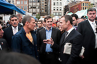 New York, NY -  30 October 2009- Lance Armstrong and Mike Bloomberg at the  Union Square Greenmarket